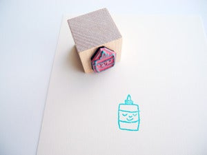 Image of Small Object Happy Glue Rubber Stamp