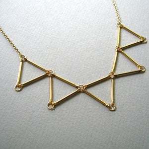 Image of Geometric Triangle Collar Necklace, SA439 Gold