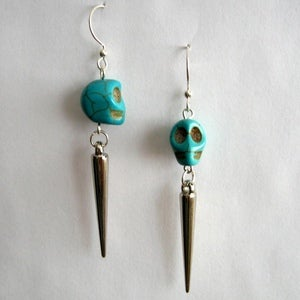 Image of Day Of The Dead Skull Earrings with Spikes