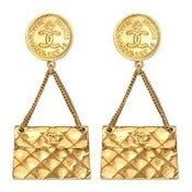 Image of CHANEL 2.55 QUILTED BAG EARRINGS