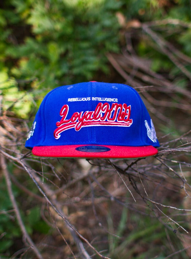 Image of Loyal K.N.G. Cursive Script Blue/Red Snapback Cap #05