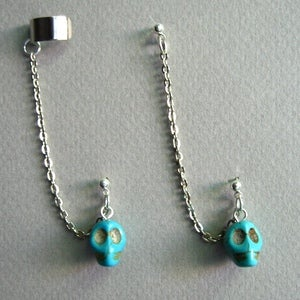 Image of  Single Howlite Turquoise Skull Chain with Earring Cuff