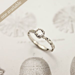 Image of platinum 4.7mm rose cut diamond ring {SOLD floral carved No.D}