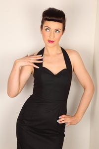 Image of Plain Black Fitted Skirt Halterneck