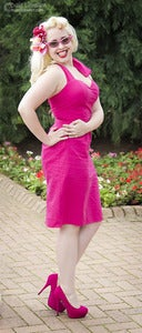 Image of Pink Fitted Skirt Halterneck Dress