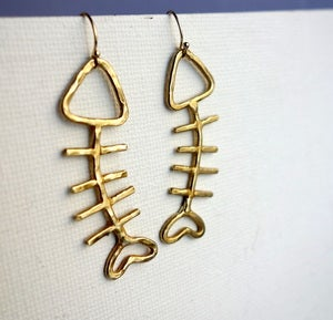 Image of Fish Sticks- Brass Fish Dangles