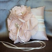 Image of LETITIA-Silk Dupioni and Silk Oversized Blooms Ring Pillow