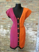Image of Orange and Pink Strong Shoulder Color Block Dress