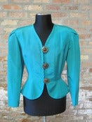 Image of Turquoise Brocade Peplum Jacket