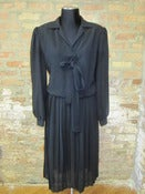 Image of Black Sheer Pleated Dress