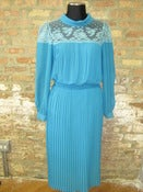 Image of Turquoise Pleated Lace Dress