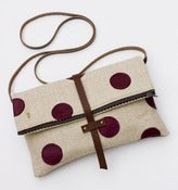 Image of foldover crossbody bag with hand cut leather polka dots (plum)
