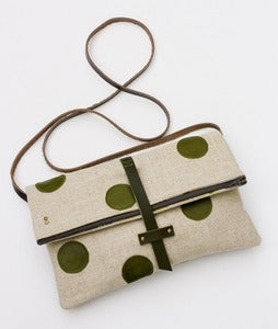 Image of foldover crossbody bag with hand cut leather polka dots (avocado)