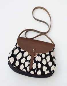 Image of - S O L D O U T- black + cream ikat dots crossbody with a LEATHER flap!