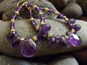 Image of Amethyst Drama Hoop Earrings | Faceted Amethyst Gemstones, Ornate Vermeil Accents