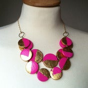 Image of neon pink &amp; gold leaf bib necklace