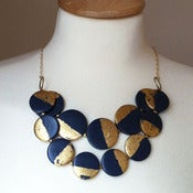 Image of the claire - navy &amp; gold leaf bib necklace