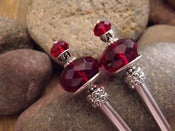 Image of Lucys Bitten Gothic Hairsticks | Deep Red Glass, Swarovski Siam Crystals