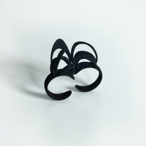 Image of Ribbon Double Ring Black
