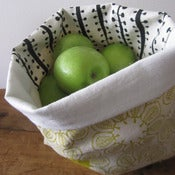 Image of Handmade Fabric Bucket - sherbert ficus with buds