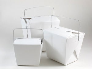 Image of White Noodle Boxes With Handles