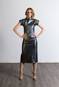 Image of Metallic Slate Leatherette Pencil Skirt