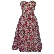 Image of Vintage Style Rose Print Tea Dress
