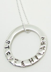 Image of STERLING SILVER ENGRAVED OR HAND STAMPED WASHER PENDANT NECKLACE