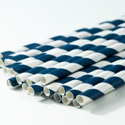 Image of Navy Blue Stripe Paper Straw