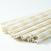 Image of Ivory Cream Stripe Paper Straw