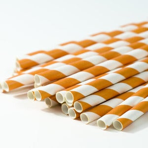 Image of Orange Stripe Paper Straws