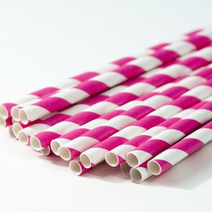 Image of Hot Pink Stripe Paper Straws
