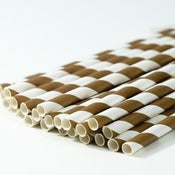 Image of Chocolate Brown Stripe Paper Straw
