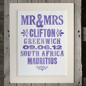 Image of Personlised Wedding  Letterpress Print Large