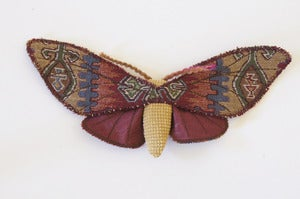 Image of Limited Edition Tapestry Moth Soft Sculpture Burgundy