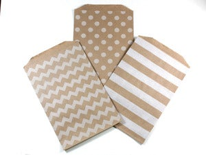 Image of Kraft & White Pattern Paper Bags