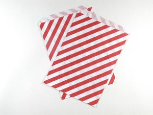 Image of Red Striped Paper Bags