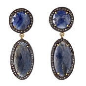 "Image of "" New "" Kara Ackerman <i> Alice Rose <i/> Blue Sapphire Double Drop Earring"
