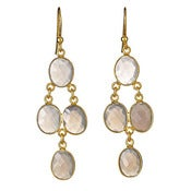 "Image of  "" New "" Kara Ackerman <i> Judie <i/> Oval Faceted Grey Moonstone 4 Drop Earring"