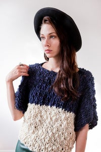 Image of welland merino wool sweater (shown in color blocked midnight & natural)