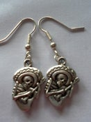 Image of Mexican Day of the Dead Guitar Playing Skeleton Bandit Earrings