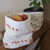 Image of Handmade Fabric Bucket - Laundry Birds