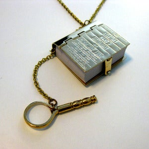 Image of Adorable - Book Worm Dictionary Necklace