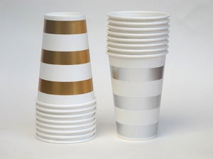 Image of Metallic Stripe Paper Cups