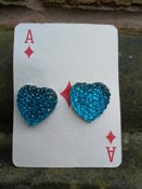 Image of Beautiful Turquoise-Mid Blue Glittery Sparkly Heart Shaped Earrings