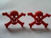 Image of Skull Pirate Psychobilly Rockabilly Punk Skull & Crossbones Red Earrings