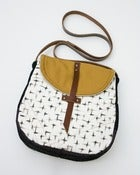 Image of - S O L D- the perfect crossbody (black + cream brushstrokes print)