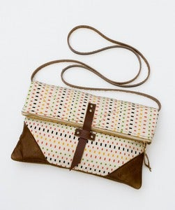Image of -S O L D- the foldover crossbody bag in vintage silk squares print