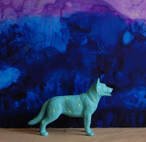 Image of dog/turquoise  the strange planet