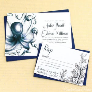 Image of Navy Octopus Wedding Invitation - Sample